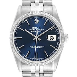 Rolex DateJust Blue Dial Jubilee Bracelet Steel Mens Watch 16220