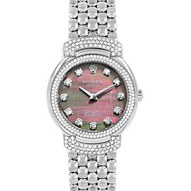 Rolex Cellini Cellissima White Gold MOP Diamond Ladies Watch 6673