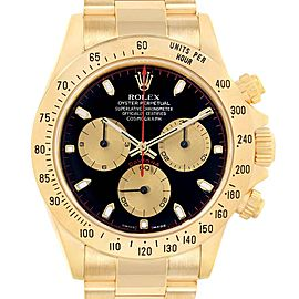 Rolex Cosmograph Daytona Yellow Gold Black Dial Mens Watch 116528