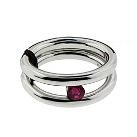 Damiani 18K White Gold & Ruby Ring