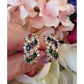 18K Yellow Gold Ruby Emerald Sapphire 3.33ctw Diamond Half Hoop Earrings