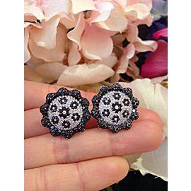 18K White Gold 5.45ctw Diamond Flower Earrings
