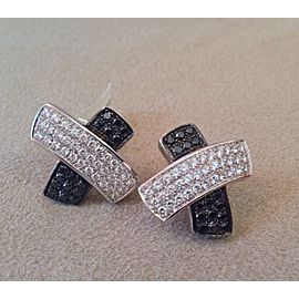 18K White Gold .73ctw Diamond X Earrings