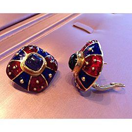 18K Yellow Gold Iolite Enamel Earrings