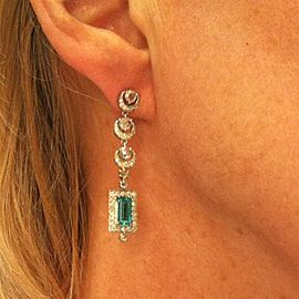 18K White Gold Emerald 1.00ctw Diamond Drop Earrings