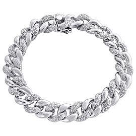 925 Sterling Silver 3.00ct Diamond Cuban Link Diamond Bracelet