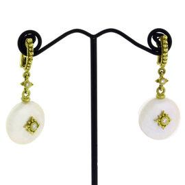 Judith Ripka 18K Yellow Gold Diamond Coin Pearl Earrings