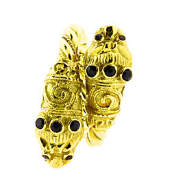 Lalaounis 18K Yellow Gold Double Lion Head Ring