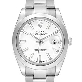 Rolex Datejust 41 White Dial Steel Mens Watch 126300 Box Papers