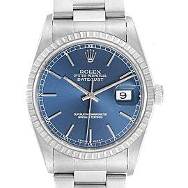 Rolex DateJust Blue Dial Oyster Bracelet Steel Mens Watch 16220
