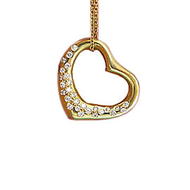 Tiffany & Co. Elsa Peretti 18K Yellow Gold & 0.70ct Diamond Open Heart Pendant Necklace