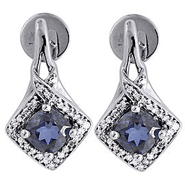 10K White Gold with 0.16ct Diamond and 2.00ct Lab Created Blue Sapphire Dangle Earrings