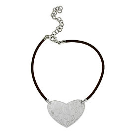 Bulgari Sterling Silver Leather Necklace