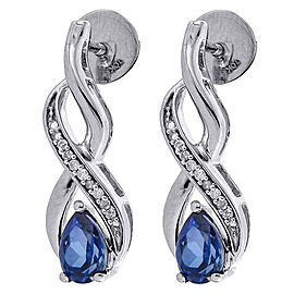 10K White Gold with 1.1ct Pear Created Blue Sapphire & 0.056ct Diamond Infinity Dangle Earrings