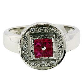 Le Vian 18K White Gold Diamond, Ruby Ring Size 7