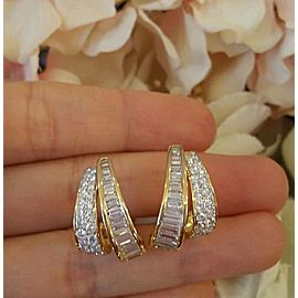 18K Yellow Gold 2.94ctw Diamond Hoop Earrings