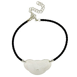 Enigma Sterling Silver Leather Necklace