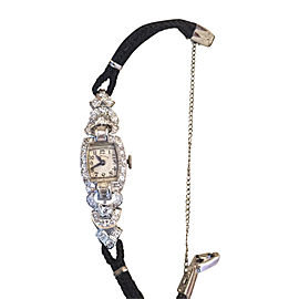 Hamilton Platinum & Cream Dial Diamond Womens Watch