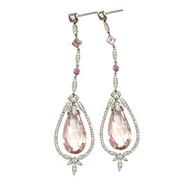 Tiffany & Co. 950 Platinum 30.94cts Morganite, Pink Tourmaline & Diamond Drop Earrings
