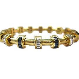 Charles Krypell 18K Yellow Gold Diamond Sapphire Bracelet