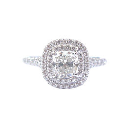 Tiffany & Co. Platinum Cushion Cut Diamond Soleste Engagement Ring Size 5.75