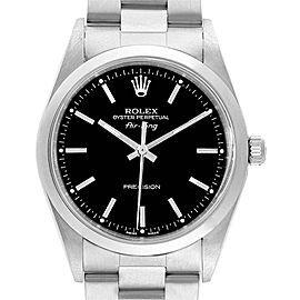 Rolex Air King 34 Black Baton Dial Automatic Steel Mens Watch 14000