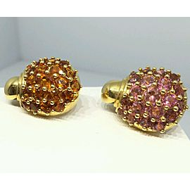 18K Yellow Gold Tourmaline Citrine Cluster Earrings