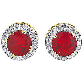 10K Yellow Gold with 0.88ct Diamond & Ruby Earrings