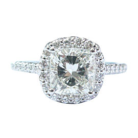 Ritani Platinum Diamond Halo Engagement Ring Size 6.5