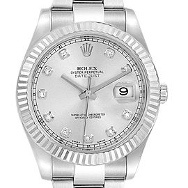 Rolex Datejust II 41mm Steel White Gold Diamond Dial Mens Watch 116334