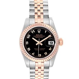 Rolex Datejust Steel Everose Gold Black Dial Ladies Watch 179171