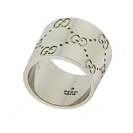 "Gucci 18K White Gold Double ""GG"" Band Ring"