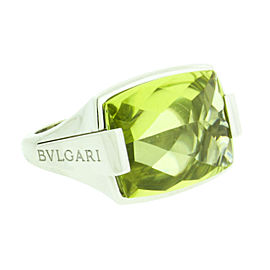 Bulgari 18K White Gold Peridot Ring
