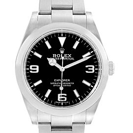 Rolex Explorer I 39mm Black Dial Steel Mens Watch 214270 Box Card