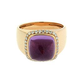 Fred Paris 18K Yellow Gold Amethyst & Diamond Ring