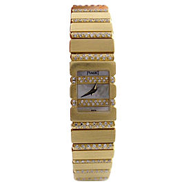 Piaget 18K Yellow Gold Mini Polo Mother Of Pearl Diamond Watch