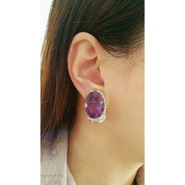 18K White Gold Amethyst 2.43ctw Diamond Earrings