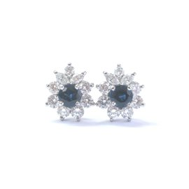 Tiffany & Co. Platinum Blue Sapphire and Diamond Victoria Earrings