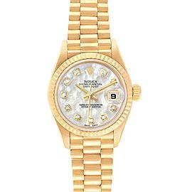 Rolex President Yellow Gold MOP Diamond Ladies Watch 79178 Box Papers