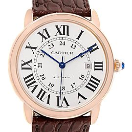 Cartier Ronde Solo XL Silver Dial Rose Gold Steel Mens Watch W6701010