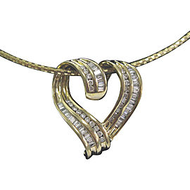 14K Yellow Gold 1.00ct Round & Baguette Diamond Heart Pendant Necklace