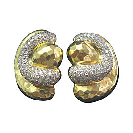 Henry Dunay 18K Yellow Gold 4.50ct. Hammered Diamond Earrings