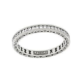 Tacori Classic Crescent 18K White Gold Diamond Wedding Eternity Band