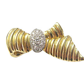18k Yellow Gold 0.50Ct Diamond Ribbon Pin/Brooch