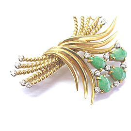 18k Yellow Gold Jade 2.07Ct Diamond Ropse Bypass Pin / Brooch