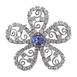 14K White Gold With 8.13ct Tanzanite & Diamond Pin Brooch