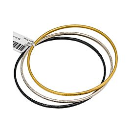 Gurhan 24K Yellow Gold, White & Black Sterling Silver Midnight Set of 3 Bangle Bracelets