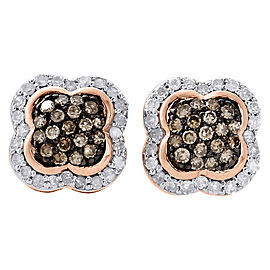 10K Rose Gold with 0.50ct Brown Diamond Studs Flower Dome Earrings