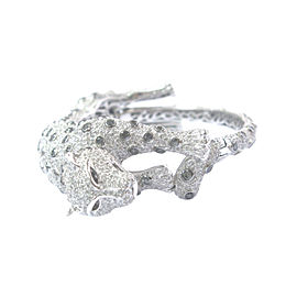 18K White Gold Multi Color Diamond Cheetah Bangle Bracelet