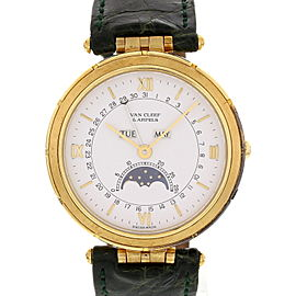Van Cleef & Arpels La Collection 111023 18K Yellow Gold Moon Phase Vintage Watch